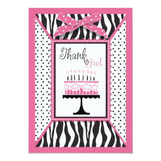 Wild Zebra Print & Birthday Cake Pink Thank You Card