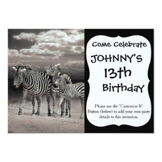 Wild Zebra Socialising in Africa 13 Cm X 18 Cm Invitation Card