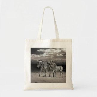 Wild Zebra Socialising in Africa Budget Tote Bag