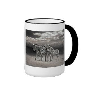 Wild Zebra Socialising in Africa Ringer Mug