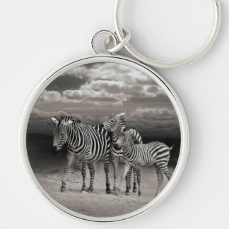 Wild Zebra Socialising in Africa Silver-Colored Round Key Ring