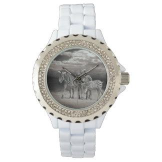 Wild Zebra Socialising in Africa Wristwatch