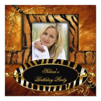 Wild Zebra Tiger Caramel Birthday Party 13 Cm X 13 Cm Square Invitation Card