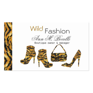 Wild Zebras Stiletto Shoes Boots and Purse Pack Of Standard Business Cards