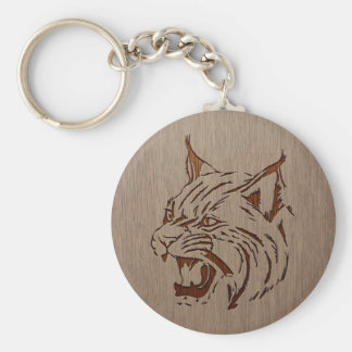 Wildcat illustration engraved on wood design key ring