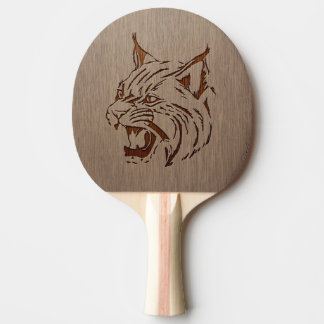Wildcat illustration engraved on wood design ping pong paddle