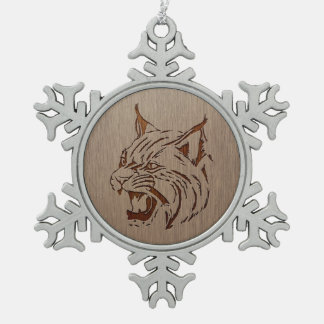 Wildcat illustration engraved on wood design snowflake pewter christmas ornament