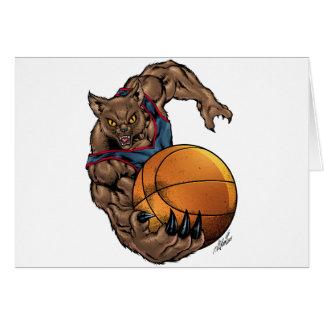 Wildcats Basketball art Blue Shirt, Red Stripe Greeting Cards