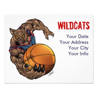 Wildcats Basketball art Blue Shirt, Red Stripe Custom Invites