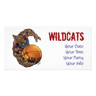 Wildcats Basketball art Blue Shirt, Red Stripe Photo Card Template