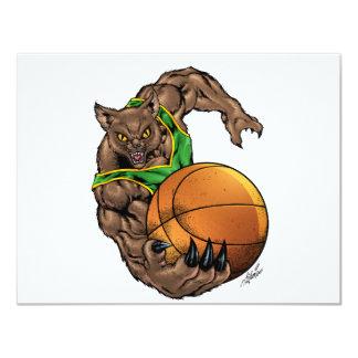 Wildcats Bobcats Basketball Green, Yellow Stripe 11 Cm X 14 Cm Invitation Card