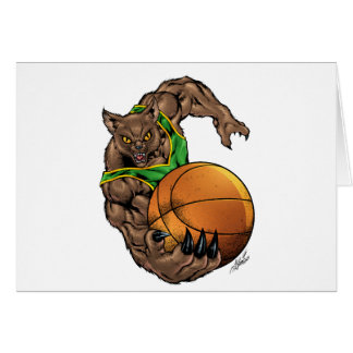 Wildcats Bobcats Basketball Green, Yellow Stripe Card