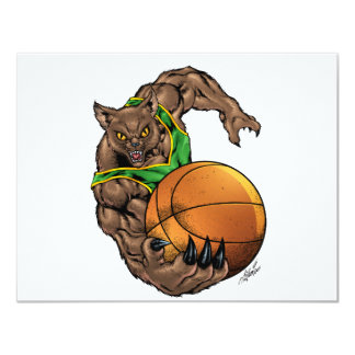 Wildcats Bobcats Basketball Green, Yellow Stripe 11 Cm X 14 Cm Invitation Card