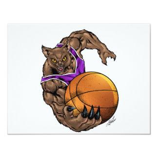 Wildcats Bobcats Basketball Purple, White Stripe 11 Cm X 14 Cm Invitation Card