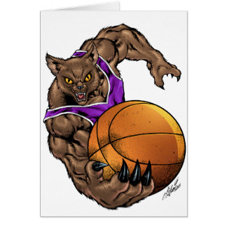 Wildcats Bobcats Basketball Purple, White Stripe Greeting Cards