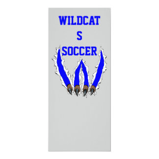 Wildcats Claw Ripping Through Design - Blue 10 Cm X 24 Cm Invitation Card