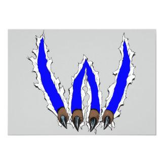 Wildcats Claw Ripping Through Design - Blue 13 Cm X 18 Cm Invitation Card