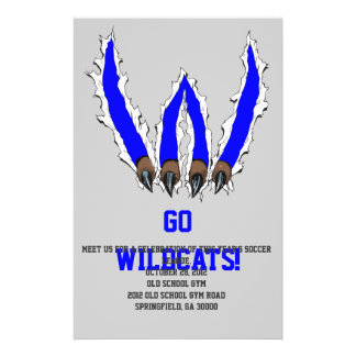Wildcats Claw Ripping Through Design - Blue Custom Flyer