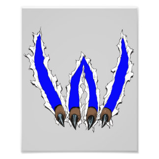 Wildcats Claw Ripping Through Design - Blue Photo Print