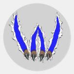 Wildcats Claw Ripping Through Design - Blue Round Sticker