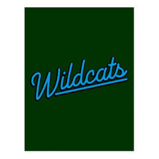 Wildcats in cyan postcard