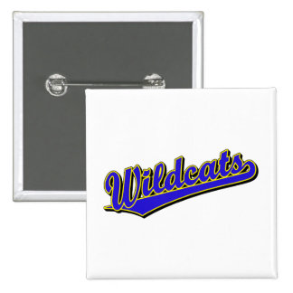 Wildcats script logo in blue and gold 15 cm square badge