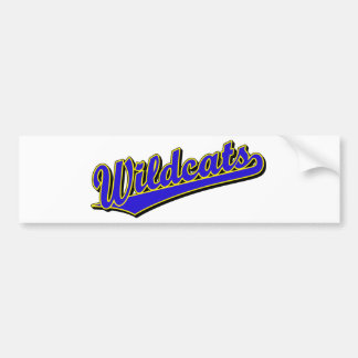 Wildcats script logo in blue and gold bumper sticker