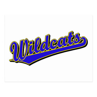 Wildcats script logo in blue and gold post cards