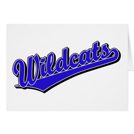 Wildcats script logo in blue cards