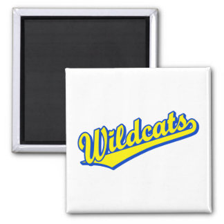 Wildcats script logo in gold and blue 2 square magnet