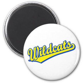 Wildcats script logo in gold and blue 2 refrigerator magnet