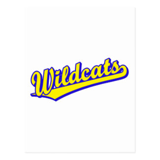 Wildcats script logo in gold and blue post cards