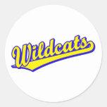 Wildcats script logo in gold and blue round sticker