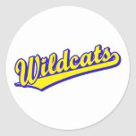 Wildcats script logo in gold and blue round stickers
