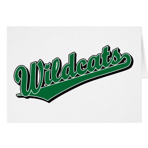 Wildcats script logo in green cards
