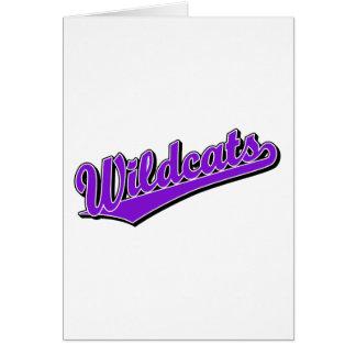 Wildcats script logo in purple greeting card