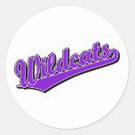Wildcats script logo in purple classic round sticker
