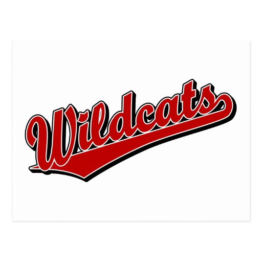 Wildcats script logo in red post card