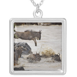 Wildebeest jumping into Mara River during Silver Plated Necklace