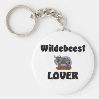 Wildebeest Lover Basic Round Button Key Ring