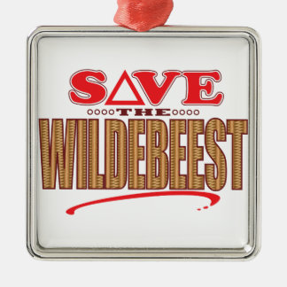 Wildebeest Save Silver-Colored Square Decoration