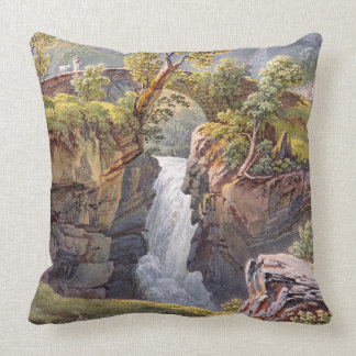 Wilderness Waterfall Alps Mountains Throw Pillow