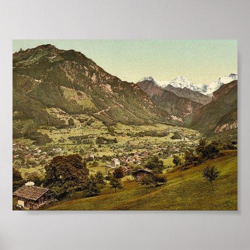 Wilderswil village, Schynige Platte, with Mount Ei Poster