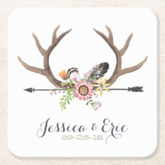 Wildflower Arrow and Antlers Square Paper Coaster
