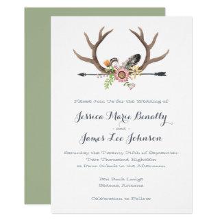 Wildflower Arrow and Antlers Wedding 13 Cm X 18 Cm Invitation Card