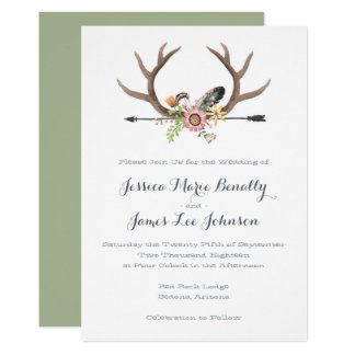 Wildflower Arrow and Antlers Wedding Card
