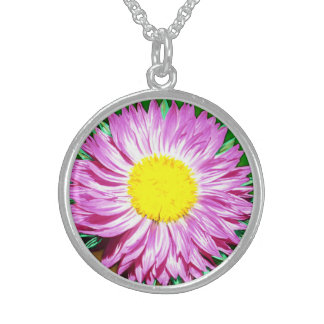 Wildflower Bloom Round Pendant Necklace