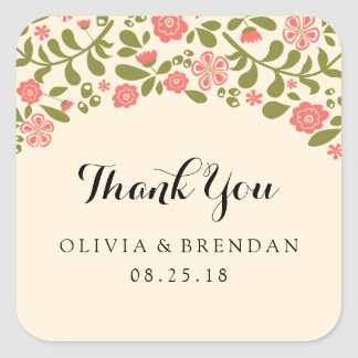 Wildflower Blossom | Wedding Favor Square Sticker