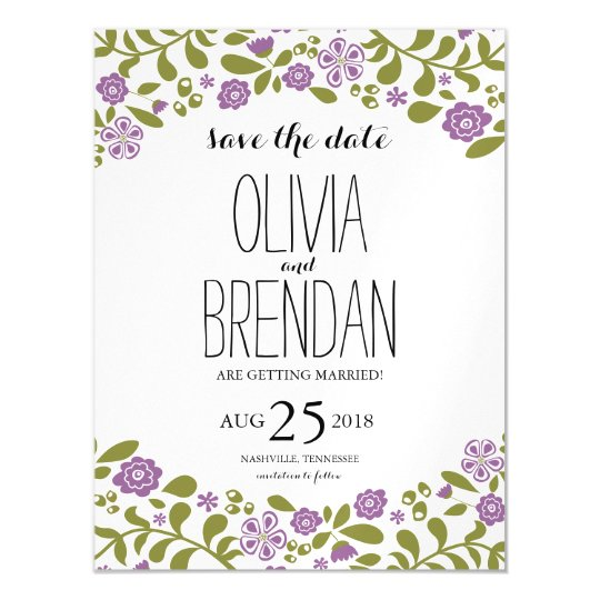 Wildflower Blossoms | Save the Date Magnetic Card