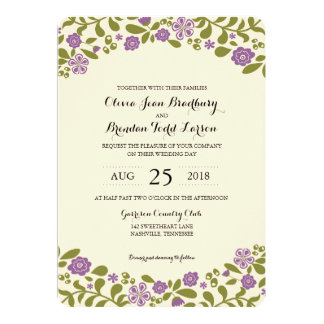 "Wildflower Blossoms | Wedding 5"" X 7"" Invitation Card"